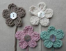x4 Crochet Flowers Embellishments w/PEARL button VINTAGE PRETTY Mix Decorations