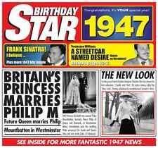 70th 1947 Birthday Gifts - 1947 Chart Hits Britpop CD and 1947 Greetings Card