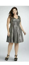 Torrid Metallic Foil Skater Dress Womens Size 3 3X Stretchy Gold Silver Party
