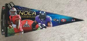 Super Bowl XLVII Ravens vs. 49ers Premium Felt Pennant NEW with Colin Kaepernick