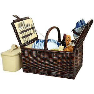 Picnic at Ascot Buckingham Handcrafted Willow Picnic Basket Equipped for 4 (714)