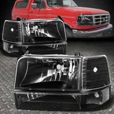For 92-96 Ford F150 F250 F350 Black Housing Clear Corner Headlight Bumper Lamps