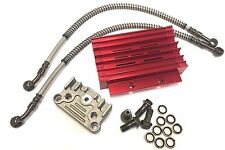 NEW RED PERFORMANCE RACING OIL COOLER SET DIRT BIKE PIT BIKE MONKEY BIKE W/ PIPE