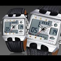OHSEN Men's Digital Date Military Sport Quartz Leather Strap Wrist Watch Gift
