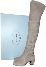$1450  Prada Taupe Stretch Suede Over-The-Knee Boots Metal Heel Booties 37