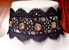 BLACK SCALLOPED LACE BAND CHOKER gold grommet eyelets goth steampunk necklace W3