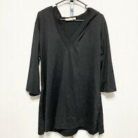 Croft & Barrow Womens Pullover Hooded Jacket Top Sz L Black 3/4 Sleeve V Neck