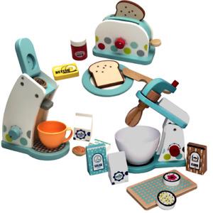 Kaffeemaschine Toaster Mixer Holz Spielküche Kinderküche Töpfe Spielzeug SET
