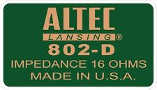 ALTEC LANSING Decal For 802-D Driver. A7  VOTT set of four (4)