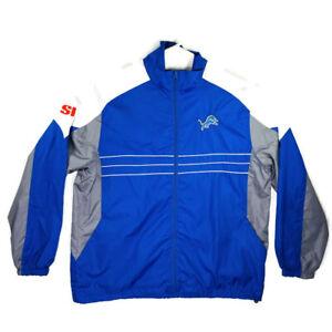 Detroit Lions Mens Wind Jacket Size XL Blue Gray NFL Team Apparel Reebok