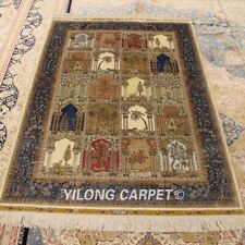 Yilong 4'x6' Hand Knotted Four Seasons Silk Rugs Indoor Antistatic Carpets 0674