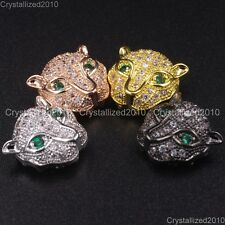 Zircon Gemstones Pave Leopard Head Bracelet Connector Charm Beads Silver Gold