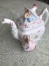 Rare Schmid Beatrix Potter Tailor of Gloucester Mice Teapot Music Box 1990 Htf