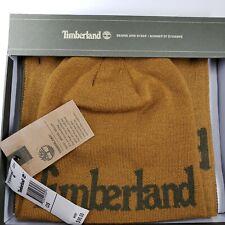 Timberland Knit Hat Beanie Scarf Set Ski Cap One Sz Reversible Unisex brown NEW