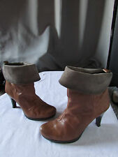 bottines hispanitas cuir marron et daim taupe 37