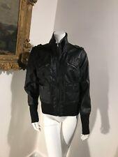 New Look Vegan Leather Black Womens Motorcycle Rocker coat Jacket - SZ XL