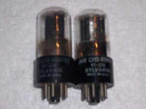 2 SYLVANIA JAN CHS 6SN7GT VT-231 RADIO VACUUM TUBES, TV-7 TESTED