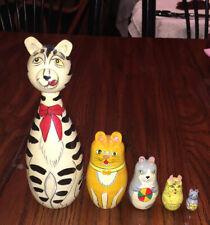 New listing 5Pcs Russian Doll Matryoshka Toy Decor Nesting Cats and Tiny Mouse