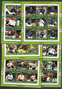 Football FIFA World Cup 2002 Japan Korea Guinea 2001 Stamps Sheets MNH Set of 6