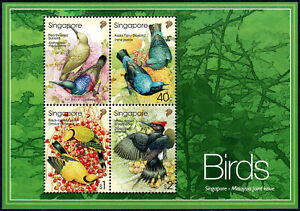Singapore 1017a S/s, MNH. Tropical Birds:Sunbird,Blubird,Oriole,Woodpecker, 2002