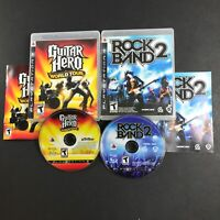 PS3 PlayStation 3 Lot of 2 Games- Rock Band 2 & Guitar Hero World Tour, TESTED