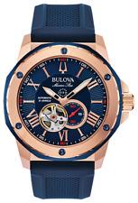 New Bulova Marine Star Auto Open Heart Blue Dial Silicon Band Men's Watch 98A227