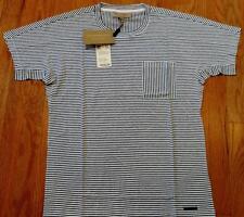 "Mens Authentic Burberry Brit ""Milford"" Striped T-Shirt White/Blue Medium $225"
