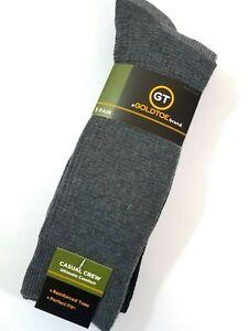 Gold Toe Men's Crew Socks Casual 3 Pack Large Black Gray Textured Large