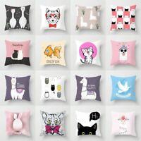 18''Cartoon Cat Polyester Throw Waist Pillow Case Cushion Cover Home Sofa Decor