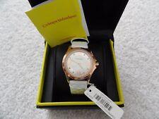 New Catherine Malandrino Quartz Ladies Water Resistant Watch, White Leather Band
