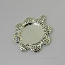 20mm Round Flower Silver Plated Cabochon (Cab) Drop Setting (#RB-C2385)