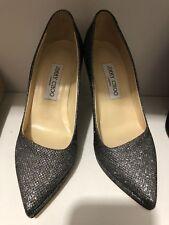 Jimmy Choo Silver Glitter Heels Size 38