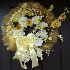 Yellow Wreath,Yellow Flowers, Wonderful Unique Handmade Wreath - Cinderella