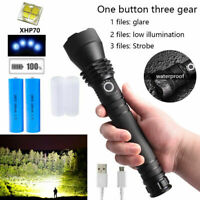200000LM Super Bright LED Torch Flashlight Tactical Zoomable USB Rechargeable UK