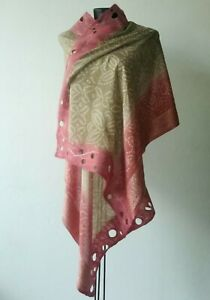 Beige and Indian Red Silk Wrap, Nuno Felted Ash of Rose Color Shawl, Bridal Wrap