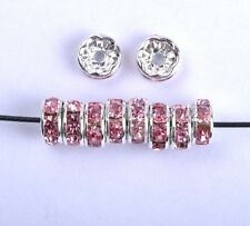 100p Czech Crystal Rhinestone Silver Rondelle Spacer Beads 6,7,8mm