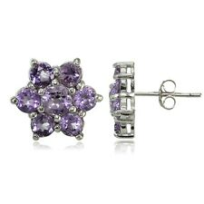 Sterling Silver Amethyst Flower Stud Earrings