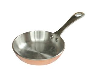 Samuel Groves Mini Frying Pan with Handle Copper Colour Small Cooking Pan 10 cm