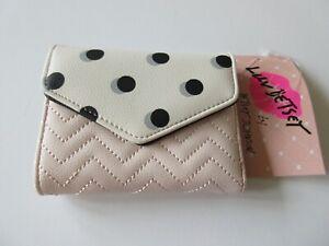 Betsey Johnson Short Tri-Fold Card Wallet Pink & White With Black Polka Dots NWT