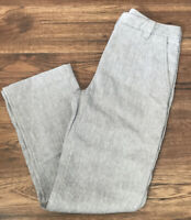 PER UNA Grey Linen Blend Straight Leg Smart Trousers UK Size 8