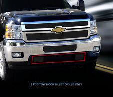 Fits 2011 12 13 14 Chevrolet Silverado Black Tow Hook Billet Grille Insert Fedar