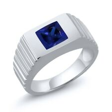 1.91 Ct Princess Blue Simulated Sapphire 925 Sterling Silver Men's Ring