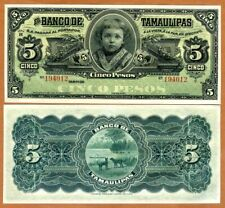 Mexico, Tamaulipas, 5 Pesos, 1914 P-S429r, Ch. UNC > Child > Over 100 years old
