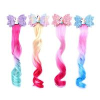 Unicorn Hair Clips For Girls Long Wig Ponytails Shiny Glitter Hair Bows Cxz