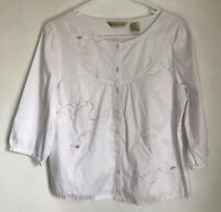 Ecologie Petite Womens PM Shirt White Embroidered Button Front Blouse 3/4 Sleeve