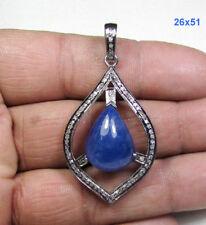 Tanzanite Gemstone 0.91 Ct Pave Diamond Sterling Silver Jewelry Pendant