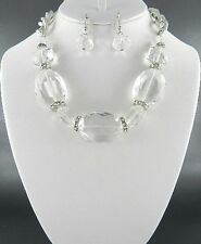 Clear Faceted Glass Bead Silver Tone Link Necklace Earring Set