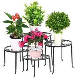 4 in 1 Potted Plant Stand Black Wrought Iron Flower Pot Rack Decor Patio Outdoor