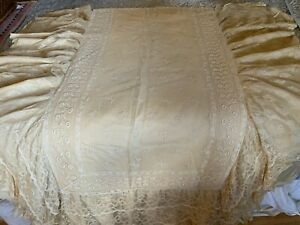 Antique French Bedspread Tambour Lace Embroidered Flowers Tiered Flounce Bows