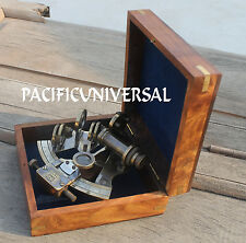"""4"""" HEAVY BRASS COLLECTIBLE SEXTANT WITH BOX SHIP WORKING REPLICA INSTRUMENT GIFT"""